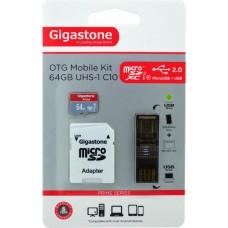 Κάρτα Μνήμης Gigastone MicroSDXC UHS-1 64GB Class10 Professional Series με SD Αντάπτορα+OTG