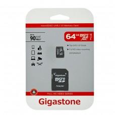 Κάρτα Μνήμης Gigastone MicroSDHC UHS-1 64GB C10 Full HD Video Series με SD Αντάπτορα up to 90 MB/s*