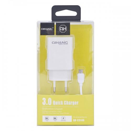 Qihang σετ Ταχυφορτιστής 3A και Καλώδιο Φόρτισης Micro-USB 1m(QH-3140)