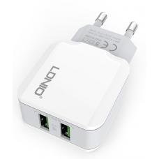 LDNIO Διπλός USB Φορτιστής Ταχείας Φόρτισης 2.4A