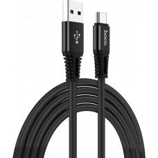 Καλώδιο Braided Hoco X22 USB σε Type-C Fast Charging 5.0A Μαύρο 1,0 μ