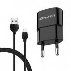 Σετ Φορτιστή και καλώδιο φόρτισης AWEI C-13M Micro USB 2.1A 1.2m